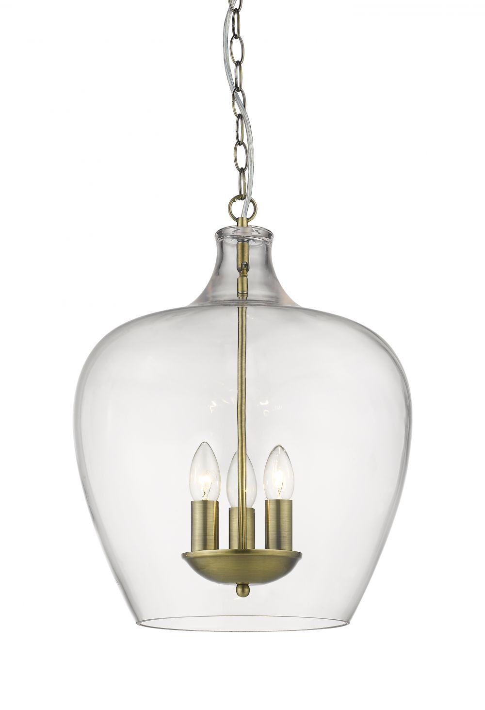 NELL 3LT CLEAR GLASS/ANT.BRASS
